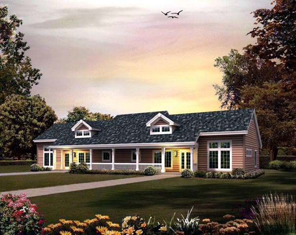 Contemporary Country Ranch Multi-Family Plan 95861 Elevation