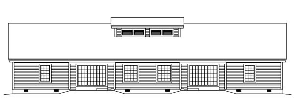 Contemporary , Country , Ranch , Rear Elevation of Plan 95861