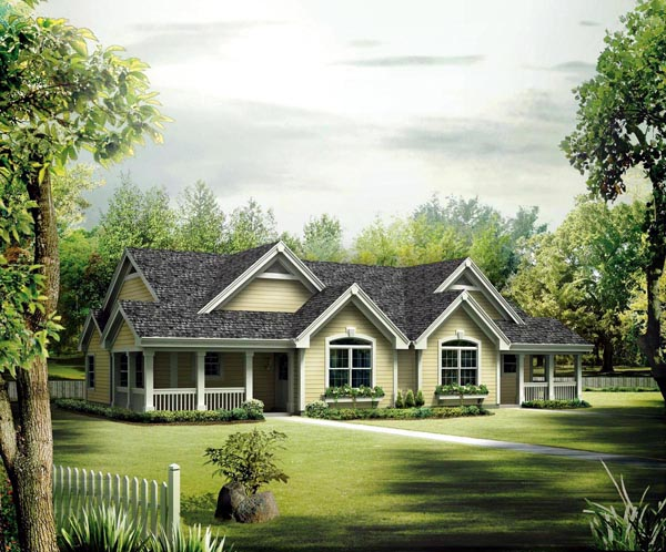 Country, Ranch Multi-Family Plan 95864 with 4 Beds, 4 Baths Elevation