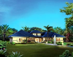 Multi-Family Plan 95866 | Contemporary Ranch Southwest Style Plan with 2602 Sq Ft, 4 Bedrooms, 4 Bathrooms Elevation