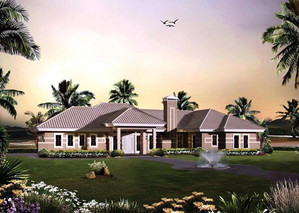 Contemporary Ranch House Plan 95868 Elevation