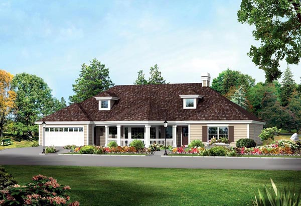 Colonial Country Ranch Traditional House Plan 95869 Elevation