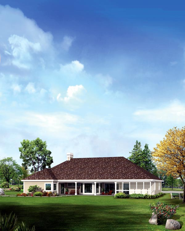 Colonial Country Ranch Traditional House Plan 95869 Rear Elevation