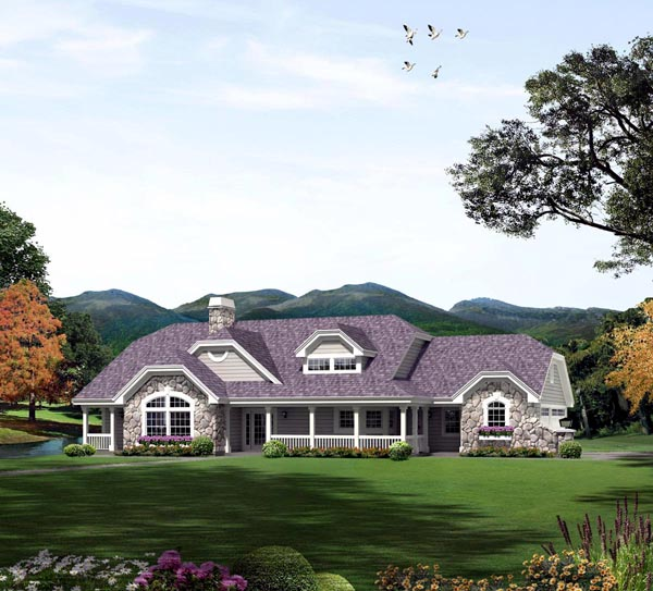 Country, Ranch House Plan 95870 with 3 Beds, 3 Baths, 3 Car Garage