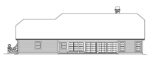 Country Ranch Rear Elevation of Plan 95870