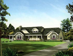 Country Ranch Traditional House Plan 95872 Elevation