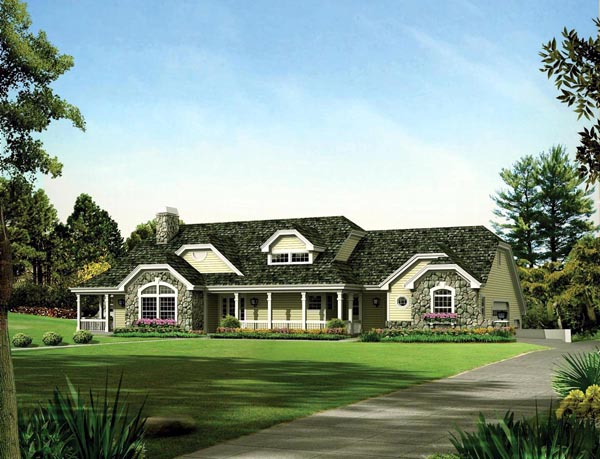 Country, Ranch, Traditional, House Plan 95872 with 3 Beds, 3 Baths, 12 Car Garage Elevation
