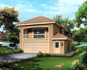Southwest 2 Car Garage Apartment Plan 95880 with 1 Beds, 1 Baths Elevation