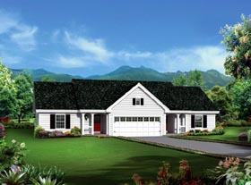 Multi-Family Plan 95881 | Colonial Ranch Style Plan with 1618 Sq Ft, 4 Bedrooms, 4 Bathrooms, 2 Car Garage Elevation