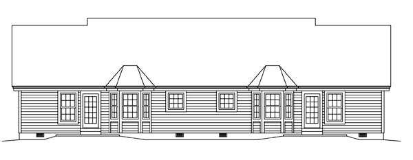 Multi-Family Plan 95881 | Colonial Ranch Style Plan with 1618 Sq Ft, 4 Bedrooms, 4 Bathrooms, 2 Car Garage Rear Elevation