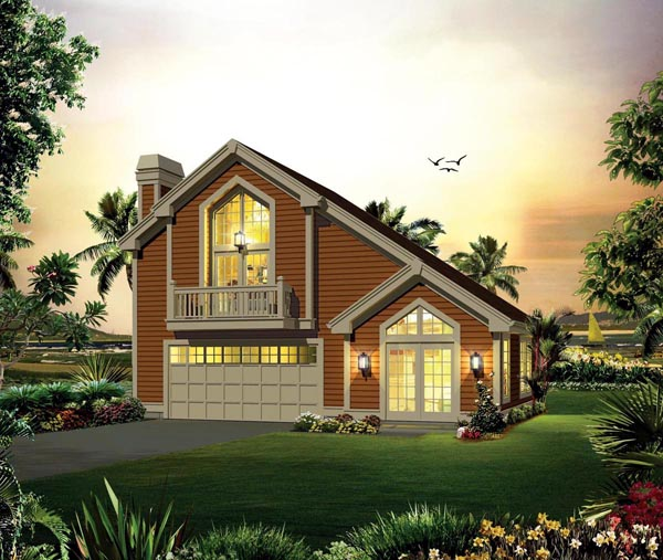 Contemporary , Country House Plan 95883 with 1 Beds, 1 Baths, 2 Car Garage Elevation