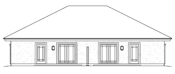 Ranch Multi-Family Plan 95884 Rear Elevation