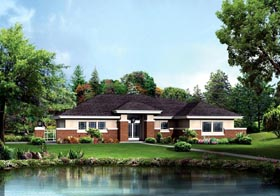 Contemporary Prairie Style House Plan 95886 Elevation