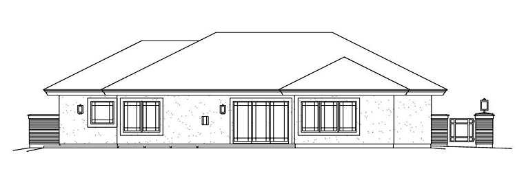 Contemporary Prairie Style House Plan 95886 Rear Elevation
