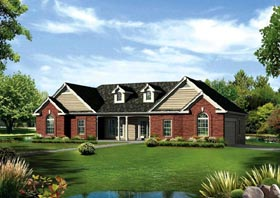 Traditional , Ranch , Country , Colonial , Cape Cod House Plan 95891 with 3 Beds, 3 Baths, 2 Car Garage Elevation