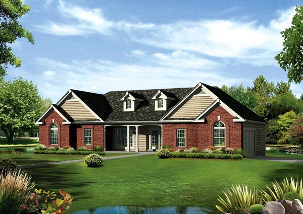 Cape Cod, Colonial, Country, Ranch, Traditional House Plan 95891 with 3 Beds , 3 Baths , 2 Car Garage Elevation