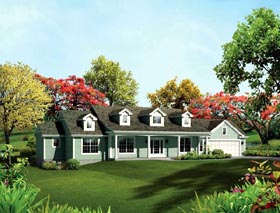 Cape Cod , Country , Ranch , Southern , Traditional House Plan 95892 with 3 Beds, 3 Baths, 2 Car Garage Elevation