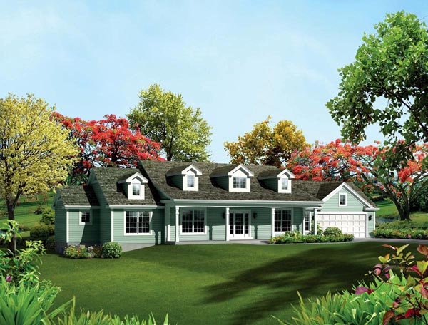 Cape Cod Country Ranch Southern Traditional House Plan 95892 Elevation