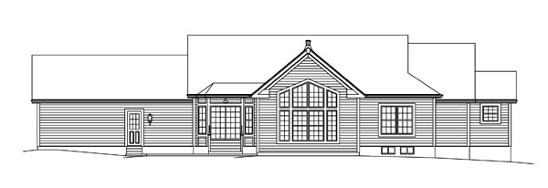 Cape Cod Country Ranch Southern Traditional House Plan 95892 Rear Elevation