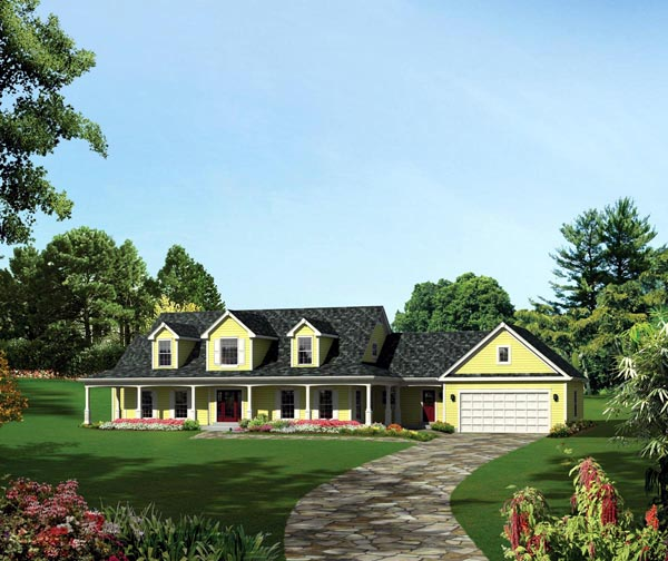Cape Cod Colonial Country Southern Traditional House Plan 95893 Elevation