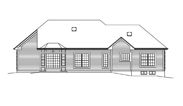 Cape Cod Colonial Country Craftsman Ranch Traditional House Plan 95894 Rear Elevation