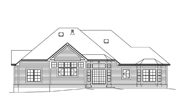 Cape Cod Colonial Country Craftsman European Ranch Southern House Plan 95895 Rear Elevation