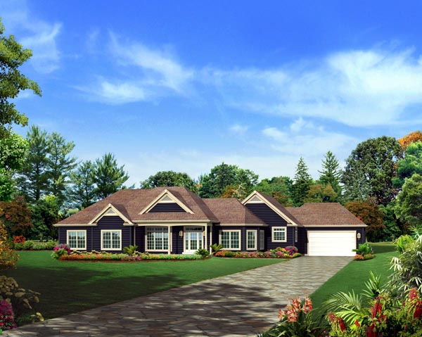 Colonial Country Craftsman Ranch Traditional House Plan 95897 Elevation