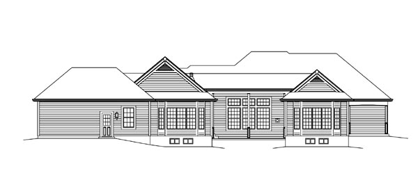 Colonial Country Craftsman Ranch Traditional House Plan 95897 Rear Elevation