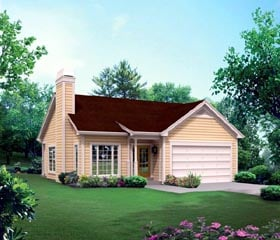 House Plan 95899 | Cabin Colonial Cottage Country Ranch Traditional Style Plan with 1281 Sq Ft, 3 Bedrooms, 2 Bathrooms, 2 Car Garage Elevation