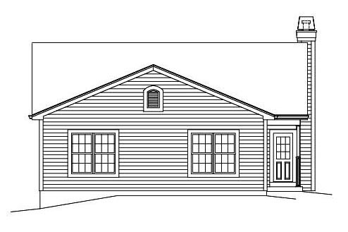 Cabin Colonial Cottage Country Ranch Traditional Rear Elevation of Plan 95899
