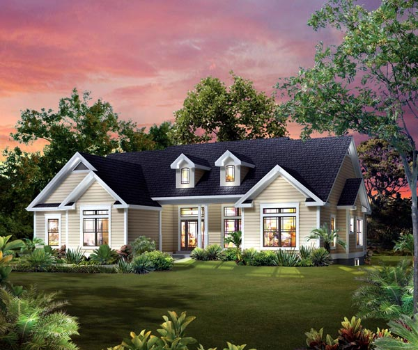 Cape Cod Country Craftsman Ranch Traditional House Plan 95900 Elevation