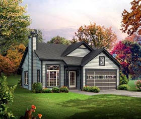 Cabin , Colonial , Cottage , Country , Ranch House Plan 95901 with 3 Beds, 2 Baths, 2 Car Garage Elevation