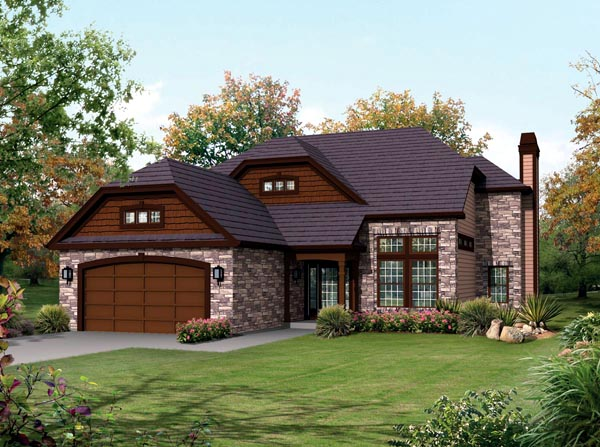 Contemporary Country Craftsman House Plan 95903 Elevation