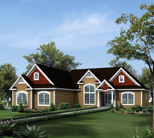 Country Ranch Traditional Elevation of Plan 95904