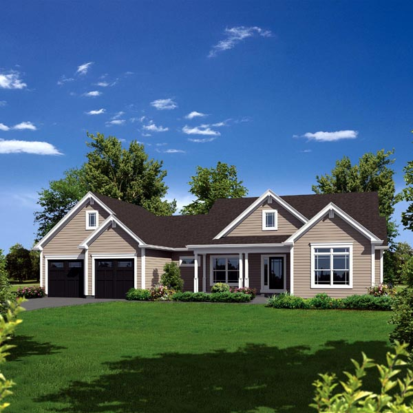 Country, Ranch, Traditional House Plan 95909 with 3 Beds, 3 Baths, 2 Car Garage Elevation