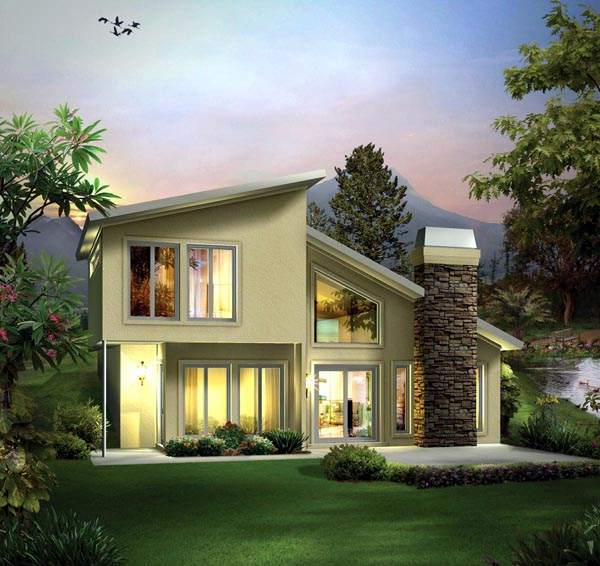 Contemporary, Earth Sheltered House Plan 95911 with 2 Beds, 2 Baths Elevation