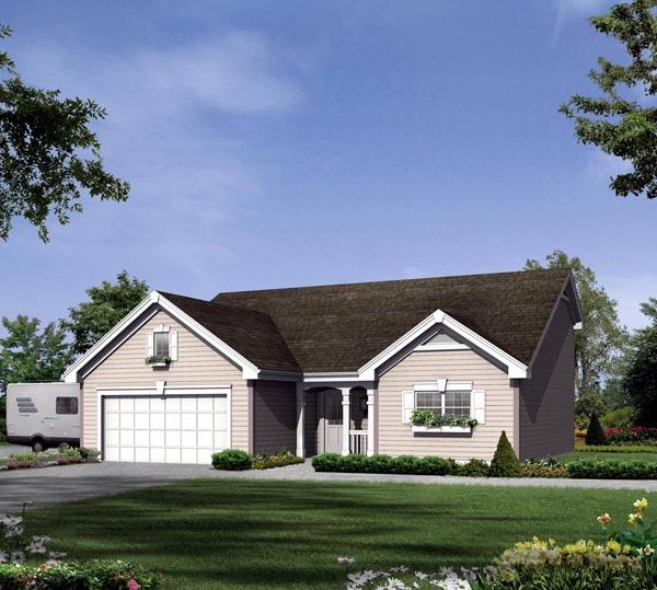2 Car Garage Plan 95932, RV Storage Elevation