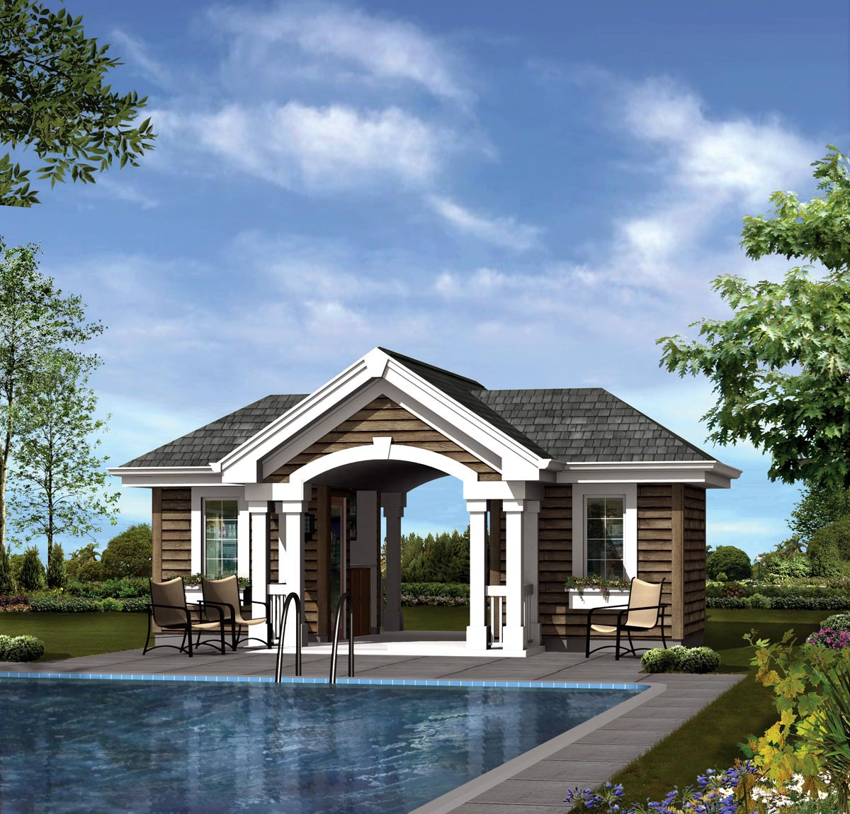 poolhouse plan 95941 at familyhomeplans com poolhouse plan 95941 elevation