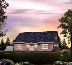 2 Car Garage Apartment Plan 95947 with 1 Beds, 2 Baths Elevation