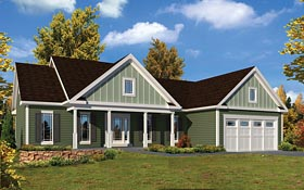 Ranch , Traditional House Plan 95951 with 3 Beds, 2 Baths, 2 Car Garage Elevation