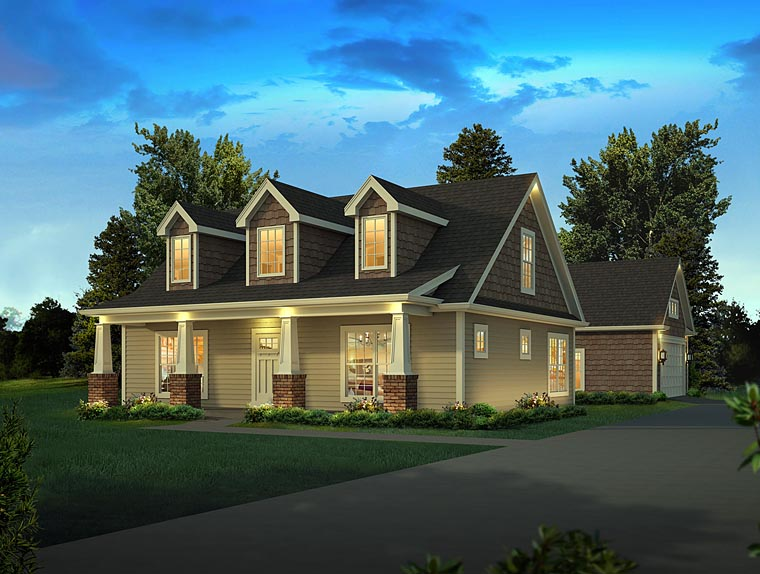 Bungalow Cape Cod Cottage Country House Plan 95954 Elevation