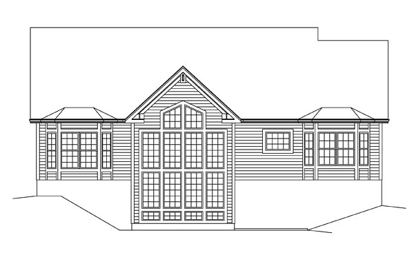 Country, Ranch, Traditional House Plan 95955 with 3 Beds, 2 Baths, 2 Car Garage Rear Elevation