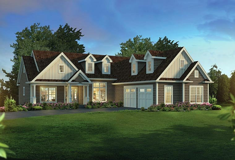 Country, Craftsman, Traditional House Plan 95957 with 3 Beds, 2 Baths, 2 Car Garage Elevation