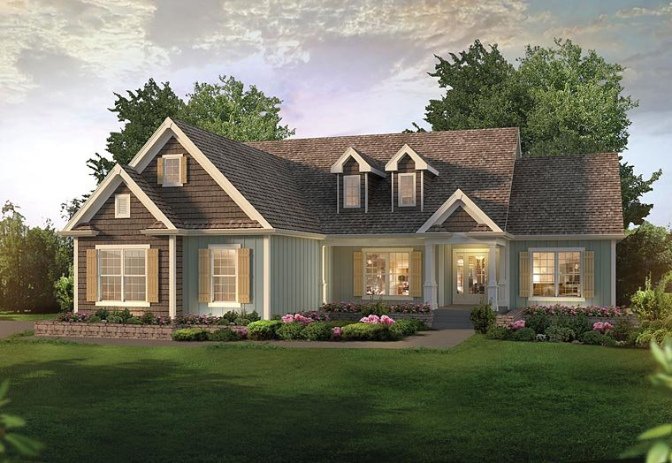Bungalow , Country , Craftsman , Traditional House Plan 95958 with 3 Beds, 3 Baths, 2 Car Garage Elevation