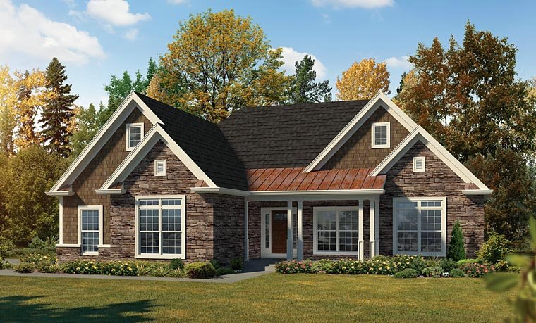 Country, Craftsman, Traditional House Plan 95959 with 3 Beds, 2 Baths, 2 Car Garage Elevation