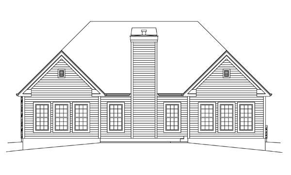 Country, Craftsman, Traditional House Plan 95959 with 3 Beds, 2 Baths, 2 Car Garage Rear Elevation