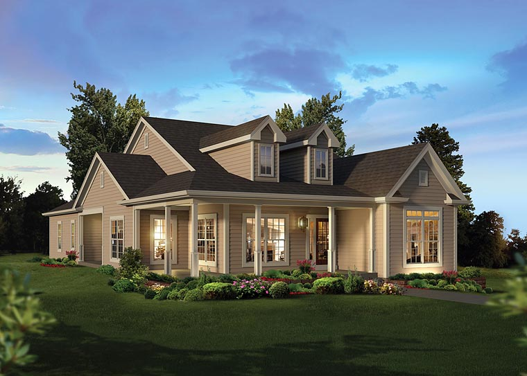 Country, Traditional House Plan 95963 with 3 Beds, 3 Baths, 2 Car Garage Elevation