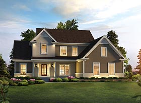 Colonial , Traditional House Plan 95967 with 3 Beds, 3 Baths, 2 Car Garage Elevation