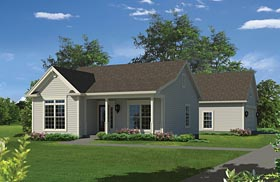 House Plan 95971 | Ranch Traditional Style Plan with 944 Sq Ft, 2 Bedrooms, 1 Bathrooms, 2 Car Garage Elevation