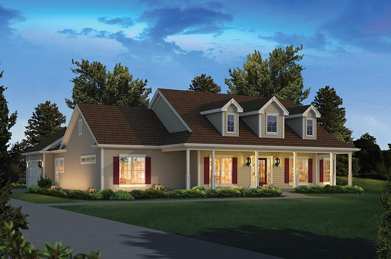 Colonial , Country , Ranch House Plan 95972 with 4 Beds, 3 Baths, 2 Car Garage Elevation